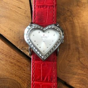 90s Guess Leather Watch Heart Shape Red Band